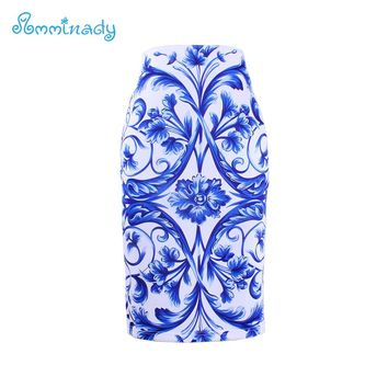 Women brand slim skirts National Blue and white porcelain print bodycon lady midi saia female faldas mujer girls pencil bottoms