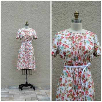 Vintage 60s Floral Shift Tunic Dress// Scooter Dress// Summer Day Dress// Cotton Dress// Large Dress// Tanner of North Carolina
