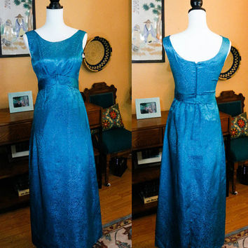Deep Teal / Turquoise Evening Dress, Hand Made Sparkly Dress, Empire Waist,  1960s, Special Occasion, Size Small XS, Vintage Clothing