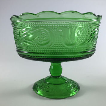 Vintage Green Depression Glass Candy Dish Retro Pedestal Bowl Compote Glass Bowl By E O Brody Cleveland Swirl And Leaf Glass Bowl