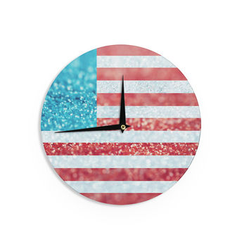 "Beth Engel ""Red White and Glitter"" Flag Wall Clock"