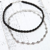 With Love From CA Braid & Flower Choker Set - Womens Jewelry - Silver - NOSZ