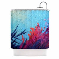 "Carol Schiff ""Coral Reef"" Coral Teal Painting Shower Curtain"