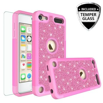 Apple iPod Touch 5 Case, Touch 6 Case,Glitter Bling Heavy Duty Hybrid Case with [HD Screen Protector] Dual Layer Protective Phone Case Cover W/Temper Glass - Hot Pink