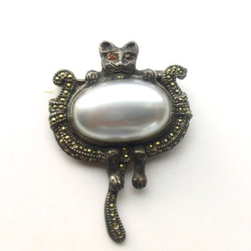 Mother of Pearl Marcasite Cat Brooch Antique Figural Jewelry