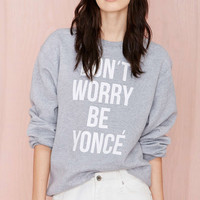 Grey Long Sleeve Letters Print Loose Sweatshirt