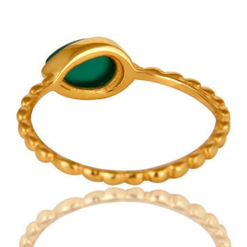 14K Yellow Gold Plated Sterling Silver Green Onyx Hammered Stacking Ring a32b6054c9ea