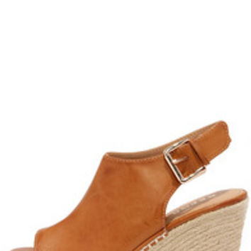 Report Dorsett Cognac Peep Toe Espadrille Wedge Sandals