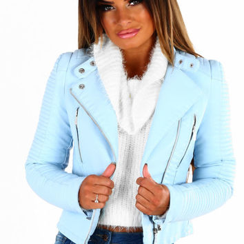 Be Brave Baby Blue Faux Leather Biker Jacket