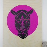 Large Rhino Head Stencil on Plywood. Handmade. Stencil Art. Faux Taxidermy. Geometric. Magenta. Origami. Original Art