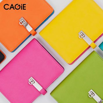 CAGIE 2016 New Candy Agenda Planner Spiral Leather Notebook Travel Journal/Personal Diary For Gift Fashion Brand Sketchbook