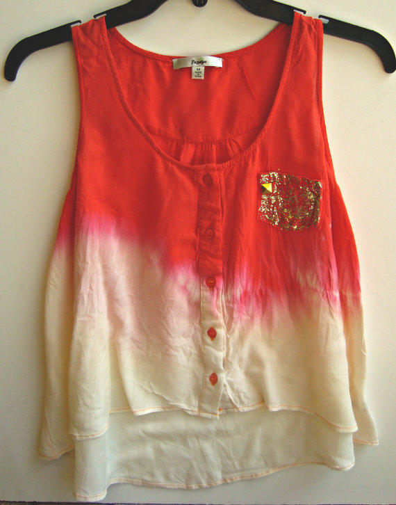 Ombre Crop Top Tie Dye Tank Top Shirt Coral Summer Clothing Size S-M