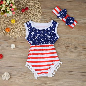 Newborn Baby Rompers American Flag Pattern Baby Clothing Set Rompers + Headbands 2pcs Summer Infant Jumpsuit Girl Boys Rompers