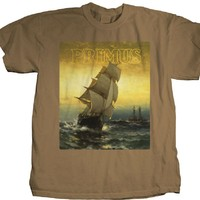 Primus T-shirt - Primus Sailing the Seas of Cheese Album Cover Artwork with Song Lyric Brown Shirt | Men's.
