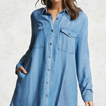 Frayed Hem Denim Mini Dress
