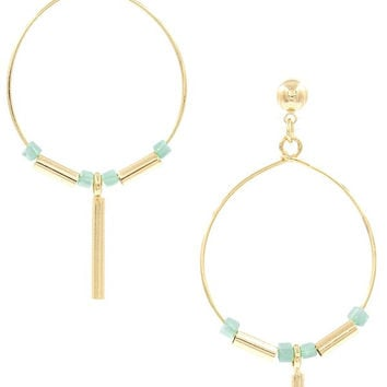 Turquoise Wire Hoop Earring