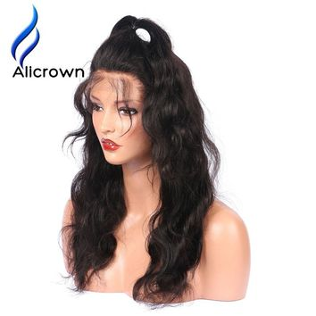 Alicrown Glueless Full Lace Human Hair Wigs With Baby Hair Remy Brazilian Hair Lace Wigs For Black Women Bleached Knots