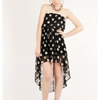BLACK TRENDY POLKA DOTTED TUBE DRESS WITH HIGH LOW HEM @ KiwiLook fashion