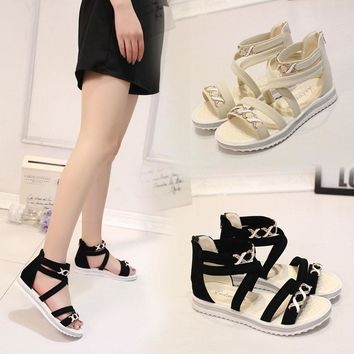 2017 New Arrival Women Flat Shoes Summer Soft Leather Leisure Ladies Sandals Jelly San