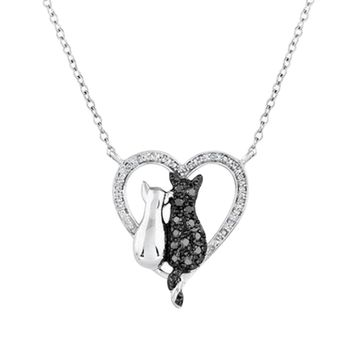 Black Silver On Heart Crystal Pendant Necklace