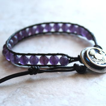 Scottish thistle bracelet - amethyst