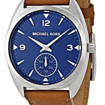 New Michael Kors Callie Blue Dial Tan Leather Women's Watch MK2372