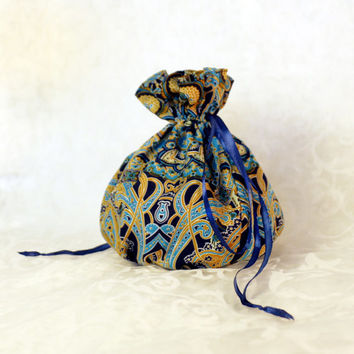 Bohemian pattern pompadour purse evening handbag wristlet drawstring reticule