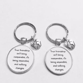Best Friend True Friendship Long Distance Earth Planet Globe Gift Keychain Set