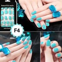 Colorful 24pcs Nail Sticker French Acrylic False Fake Nail Art Fingernail Full Tips Solid Nail Patch Sticker