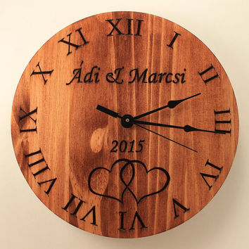 Personalized wedding clock Custom anniversary clock Wood clock Wall clock Wooden wall clock Family name clock Monogram gift Carved clock