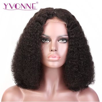 Man Unit Base - YVONNE Malaysian Curly Short BOB Lace Front Wigs Virgin Brazilian Hair 180% Density With Baby Hair Natural Color Men Unisex