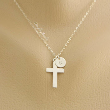 Cross Initial Necklace, Personalized Cross Necklace, Monogram Jewelry, Disc Charm Necklace, Religious Necklace, Baptism Jewelry, New Mom