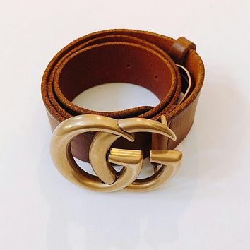 Authentic Gucci Women Brown Leather Belt with Double G Buckle 75cm ~ 90cm