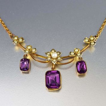 Pearl Simulated Amethyst Edwardian Necklace