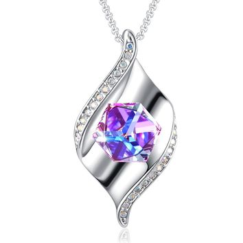 Change Color Necklace PLATO Pretty Pendant Necklace With Swarovski Cube Crystal Women Fasion Necklace, Christmas Day Gifts, Valentines Day Gift, 18