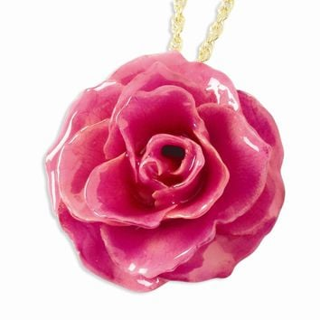 Lacquer Dipped Fuchsia Rose w/ Gold-plated Chain