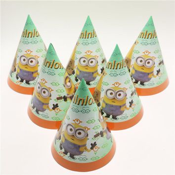 NEW Hot Sale 1bag 12pcs Party Supplies Cheering Toys Paper Hat Cartoon hat Lovely Minions Cap Child birthday Decoratin Favors