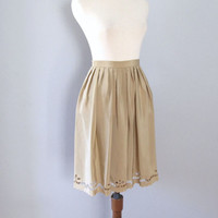 nude silky skirt - 70s scallop edge beige tan taupe floral cutout feminine pleated full knee length high waisted boho handmade xs small