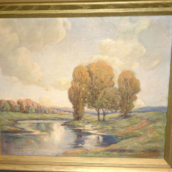 Oil on Board / Wall Art / Artist Signed Jacques / Impressionist Painting / Landscape 1950s Oil