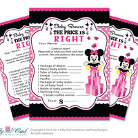Girl Minnie Mouse Price is Right Game Printable Card for Baby Minnie Mouse  Shower DIY Black Pink  Polka - ONLY digital file - oz9bs12