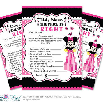 mouse price is right game printable card for baby minnie mouse shower