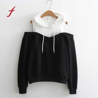 FEITONG Women's sweatshirt Fashion Off Shoulder Long Sleeve Hoodie Sweatshirt Hooded Jumper Pullover New Autumn Winter Shirt