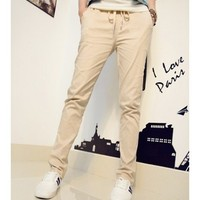Khaki Long Pants Autumn New Style Korean Style Casual Women Cotton Harem Pants M/L @WH0351k $12.99 only in eFexcity.com.