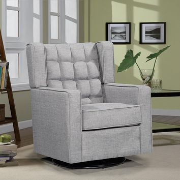 New Century® Contemporary Swivel Glider Modern Sofa Chair, Gray