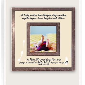 "A Baby Makes You Stronger 3""x 3"" Copper & Glass Photo Frame"