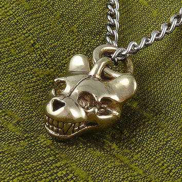 "Teddy Bear Necklace - Bronze Teddy Bear Skull Pendant on 24"" Gunmetal Chain"