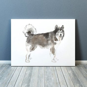 Cute nursery art Husky print Watercolor dog poster ACW50