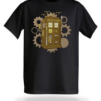 Steampunk TARDIS T-Shirt - Black,