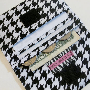 Black and White Hounds Tooth Wallet, Black and White Women's Wallet, Credit Card Wallet with Coin Purse, Small Fabric Wallet