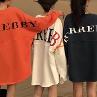 burberry women casual fashion letter print loose multicolor long sleeve pullover sweater loose tops